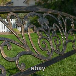 50-inch Outdoor Bench Patio Backyard Metal Garden Furniture SeatBronze