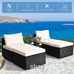 5PCS Outdoor Furniture Set Patio Rattan Wicker Armless Chair Ottoman with Cushion