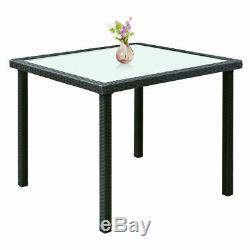 5PCS Outdoor Patio Black Rattan Table Chair Furniture Set With Seat Cushions New