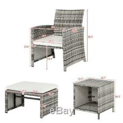 5PCS Outdoor Patio Furniture Rattan Wicker Sofa Set Tea Table Chairs Set Gray US