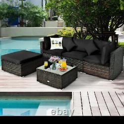 5PCS Outdoor Patio Rattan Furniture Set Sectional Conversation Black Cushion