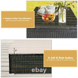 5PCS Outdoor Patio Rattan Furniture Set Sectional Conversation WithBeige Cushion