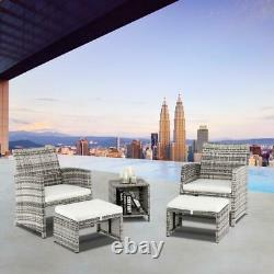 5PCS Outdoor Patio Rattan Wicker Sofa Furniture Set Table Chairs Sectional Couch