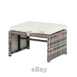5PCS Outdoor Patio Rattan Wicker Sofa Furniture Set Table Sofas /w Cushions