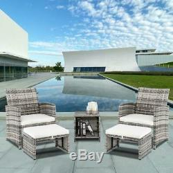 5PCS Outdoor Patio Rattan Wicker Sofa Furniture Set Tea Table Chairs /w Cushions