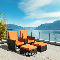 5PCS Outdoor Sofa Set Rattan Patio Furniture Set With Cushions/Table/Ottoman New