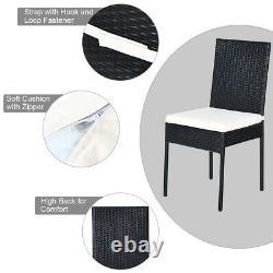 5PCS Patio Rattan Dining Set Wicker Chair Table Outdoor Garden Furniture Set