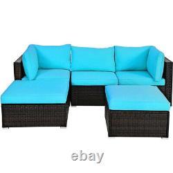 5PCS Patio Rattan Furniture Set Sectional Conversation Sofa Outdoor Turquoise