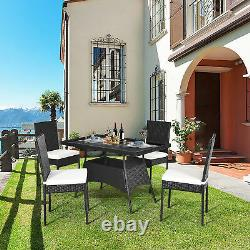 5PCS Patio Wicker Dining Set Outdoor Rattan Furniture Set with Cushion