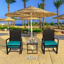 5PCS Patio Wicker Furniture Set Bistro Chair With Table Cushioned Ottoman Outdoor