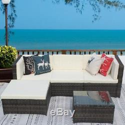 5PCS Rattan Wicker Patio Set Outdoor Sectional Couch Sofa Furniture NEW C4T3