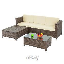 5PCS Rattan Wicker Patio Sofa Cushion Seat Set Furniture Lawn Outdoor Brown NEW