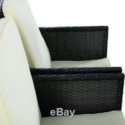 5PC Outdoor Patio Garden Rattan Wicker Sofa Set Furniture Cushioned With Ottoman