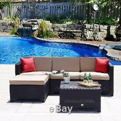 5PC Patio Furniture Set Rattan Wicker Sofa Sectional Couch Outdoor with Cushions