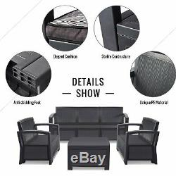 5PC Patio PE Rattan Wicker Sofa Set Cushined Couch Furniture Outdoor Garden NEW