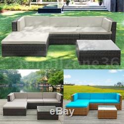 5PC Patio Rattan Wicker Sofa Set Garden Outdoor Furniture Couch With Cushions W2P5