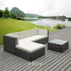 5PC Patio Sofa Furniture Garden Outdoor Wicker Rattan Yard Sectional Set J5D0
