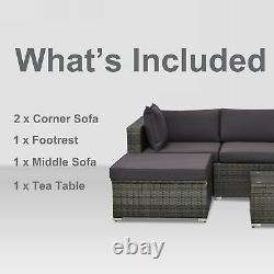 5PC Rattan Wicker Sofa Set Outdoor Patio Garden Sectional Furniture Cushioned