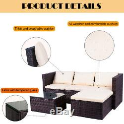 5PC Sofa Set Outdoor Patio Furniture Sectional Brown Rattan Wicker Chair