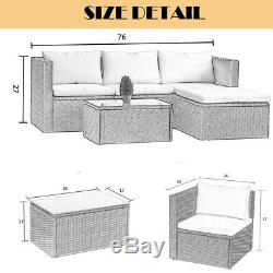 5PC Sofa Set Outdoor Patio Furniture Sectional Wicker Chair Brown Rattan