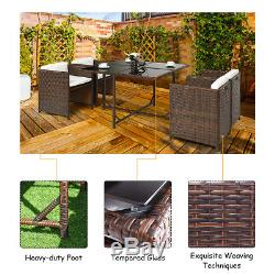 5 PCS Outdoor Patio Dining Set Rattan Wicker Sofa Table Furniture Garden Yard