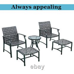 5 PCS Outdoor Patio Furniture Dining Chairs Set Side Table Sofa Fast Delivery US