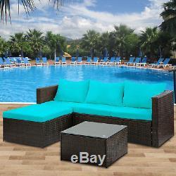 5 PCS Outdoor Patio Furniture Set Rattan Sectional Garden Furniture Wicker Sofa