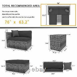 5 PCS Outdoor Patio Furniture Sets All-Weather Sectional Sofa Wicker Rattan Sofa