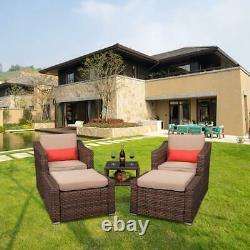 5 PCS Outdoor Patio Sofa Set PE Rattan Wicker Sectional Furniture Ottoman Table