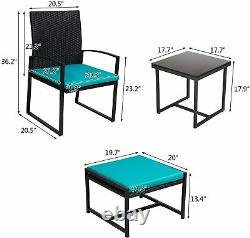 5 PCS Patio Conversation Set Patio Chair with Ottoman and Table Set for Outdoor