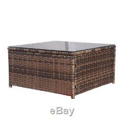 5 PCS Patio Furniture Sectional Sofa Set Outdoor Rattan Wicker Sofa Cushions