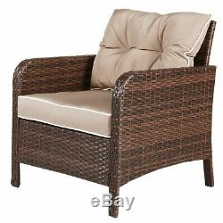 5 PCS Patio Rattan Wicker Furniture Set Sofa With Cushions Outdoor Brand New