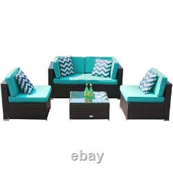 5 PCS Patio Rattan Wicker Sofa Set Cushioned Sectional Couch Furniture Outdoor