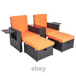5 PCS Patio Wicker Furniture Set Rattan Chair Sofa Outdoor Garden with Cushion New