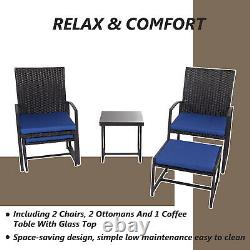 5 PCS Rattan Garden Furniture Set Patio Outdoor Table Chairs Ottoman Footstool