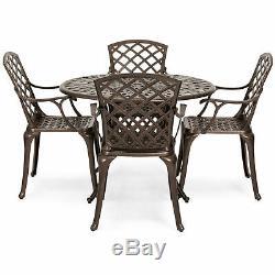 5 PCS Set Cast Aluminum Patio Dining Chair Table Furniture Outdoor Umbrella Hole