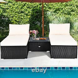 5 PC Lounge Patio Rattan Sectional Furniture Set Wicker Sofa Daybed Outdoor