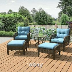 5 Pcs Outdoor Patio Sofa Furniture Set Rattan Wicker Cushion Outdoor Garden US