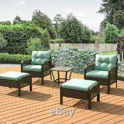5 Pcs Patio Rattan Sofa Set Wicker Garden Furniture Outdoor Sectional Couch