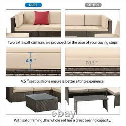 5 Pcs Patio Sofa Set, Outdoor Sectional Furniture Conversation Set with Cushions