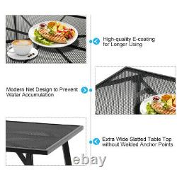 5-Piece Metal Patio Dining Set With Large Table 4 Chairs Outdoor Furniture Grey