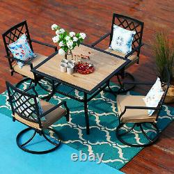 5 Piece Outdoor Furniture Set Patio Swivel Chairs With Cushion Square Table