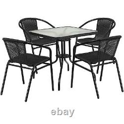 5 Piece Outdoor Patio Dining Furniture Set Square Glass Table 4 Rattan Chairs