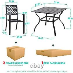 5 Piece Patio Dining Set Outdoor Furniture Stackable Chairs Square Table Black