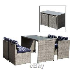5 Piece Wicker Furniture Set Outdoor Dining Set Cushioned Patio Sectional- Grey