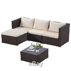5 pcs Outdoor Patio Furniture Rattan Wicker Sofa Conversation Garden Sets