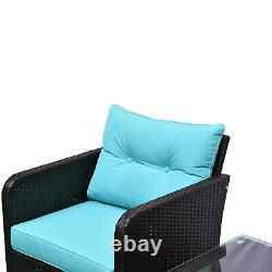 5pc Outdoor Patio Furniture Set Rattan Wicker Conversation Sofa with Ottoman