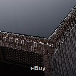 5pc Outdoor Rattan PE Wicker Bar Set Bistro Patio Dining Furniture Table Stool