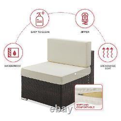 5pc Patio Wicker Furniture Set Outdoor Garden Rattan Conversation Sectional Sofa