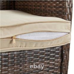5pcs Patio Wicker Furniture Set, Outdoor Conversation Set Cushioned Sofa, Brown